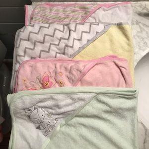 Four baby bath towels